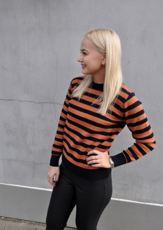 Basic Apparel Uma Stripe Sweater - Mørkeblå