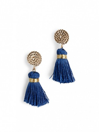 Secrets By B Petite Circle Silk Tassel Earrings - Blå