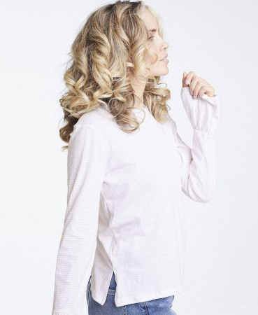 Line Of Oslo Stripe Top, Rosa