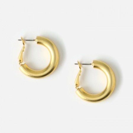 Orelia SUPER CHUNKY MEDIUM HOOP EARRINGS - gold