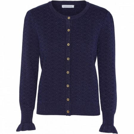 Continue Claire Lurex Knit Cardigan - Navy Blue
