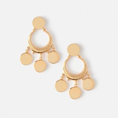 Orelia Crescent Disc Mini Chandelier Earrings - Gold