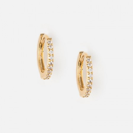 Orelia Mini Pave Hoop Earrings