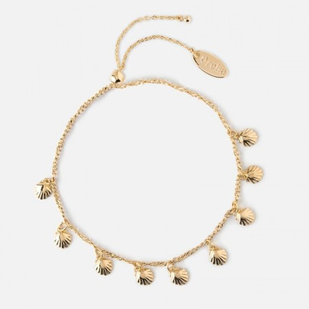 Orelia Mini Shell Charm Drop Bracelet - Gold