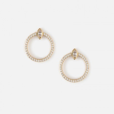 Orelia FRONT FACING PAVE HOOP STUD EARRINGS