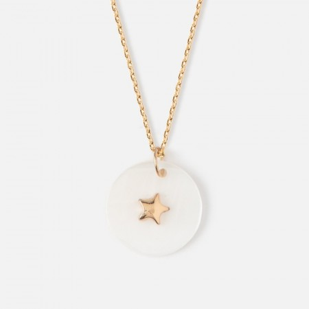 Orelia Star Shell Disc Charm Necklace