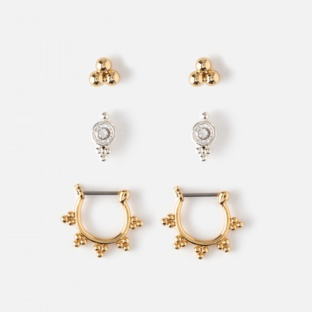 Orelia Mini Stud & Hoop Earring 3 Pack