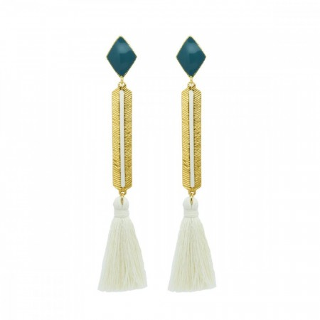 Marte Frisnes Izzy Earrings - White/Teal