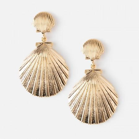 Orelia Double Sea Shell Earrings - Gold