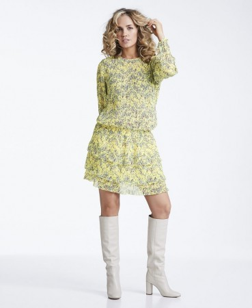 Line Of Oslo Mini Flower Dress, Gul