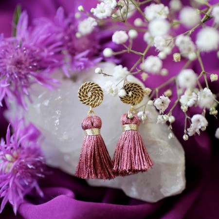 Secrets By B Petite Circle Silk Tassel Earrings - Pink