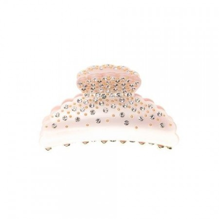 Dark  Large Crystal Hair Claw - Pale Rose