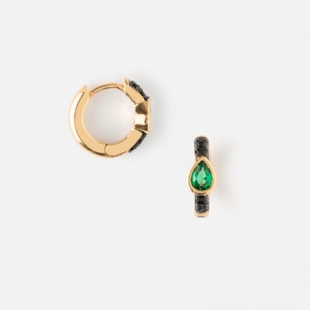 Orelia EMERALD JET PAVE HUGGIE HOOP EARRINGS