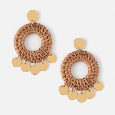 Orelia Raffia Hoop & Coin Earrings