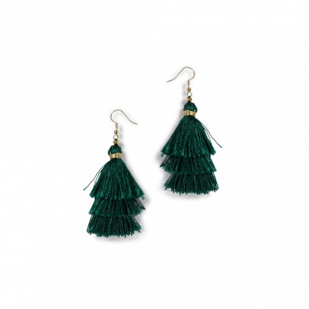 Secrets By B Tres Silk Tassel Earring - Emerald grønn