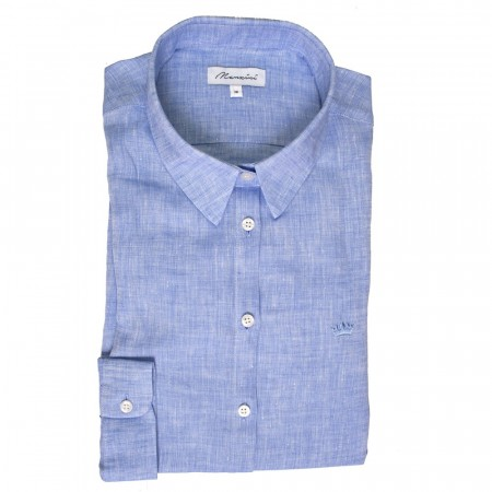 East West Manzini Linen Shirt - Blue