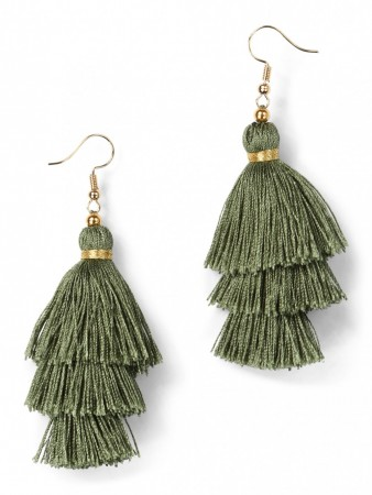 Secrets By B Tres Silk Tassel Earring - Grønn