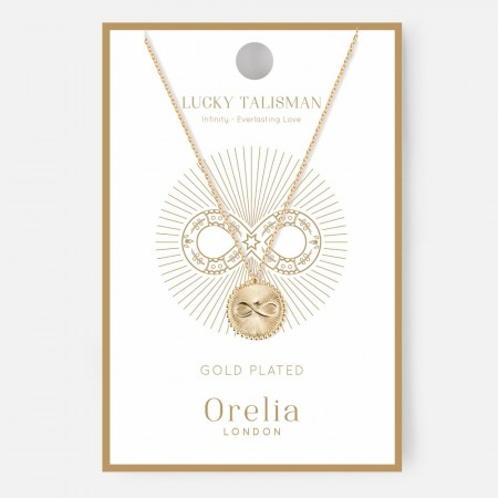 Orelia Lucky Talisman Infinity Disc Necklace - Gold