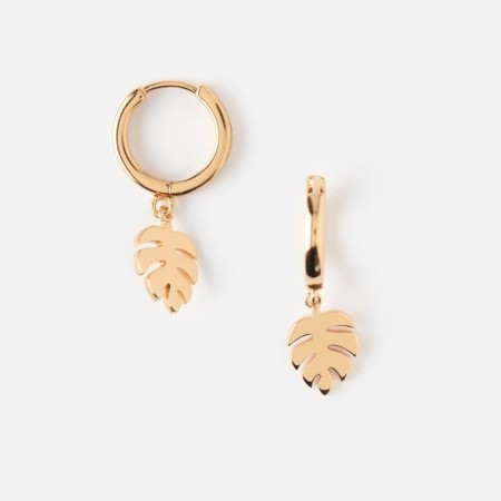 Orelia Palm Leaf Hugge Hoop Earrings
