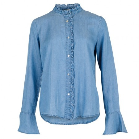 Neo Noir Nomi Chambray Shirt - Dusty Blue