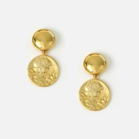 Orelia MEDALLION DOUBLE DROP COIN EARRINGS - GOLD