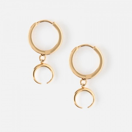 Orelia Mini Hoop Earrings With Crescent Drop - Gold