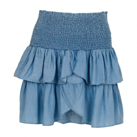Neo Noir Carin Chambray Skirt - Dusty Blue