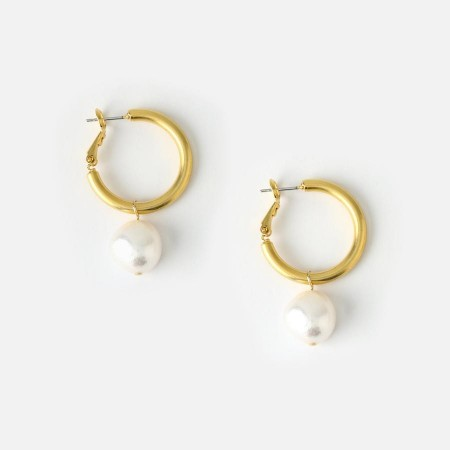 Orelia PEARL DROP CHUNKY HOOP EARRINGS - GOLD