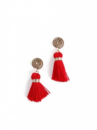 Secrets By B Petite Circle Silk Tassel Earrings - Rød