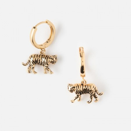 Orelia Tiger Huggie Hoop Earrings