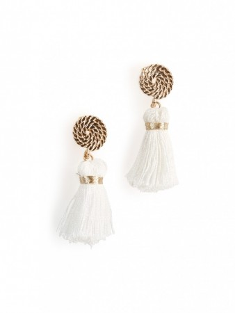 Secrets By B Petite Circle Silk Tassel Earrings - Hvit