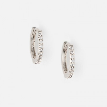 Orelia Mini Pave Hoop Earrings - Silver