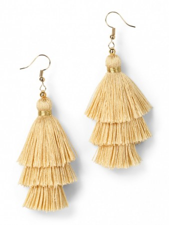Secrets By B Tres Silk Tassel Earring – Yellow