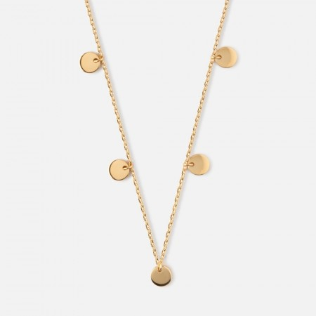 Orelia Multi Disc Drop Necklace - Gold