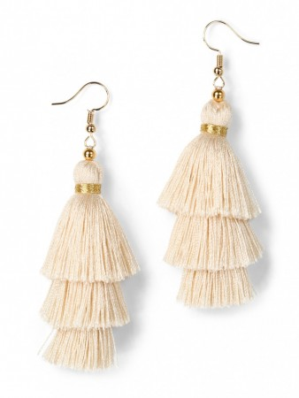 Secrets By B Tres Silk Tassel Earring - Off-white