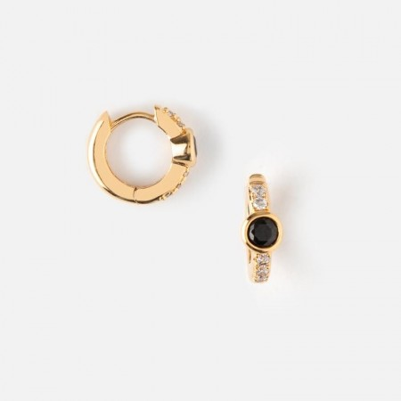 Orelia Jet Jewel & Pave  Huggie Hoop Earrings - Gold