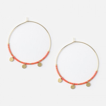 Orelia Coin Charm & Seedbead Hoop Earrings - Coral