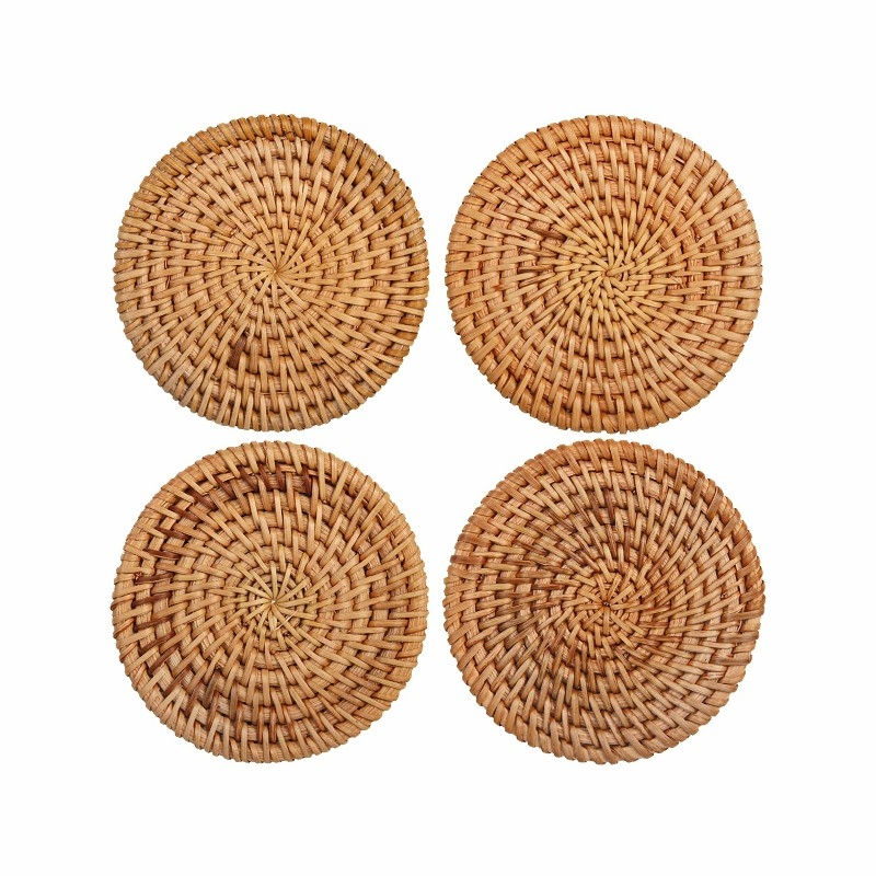 Klevering Coaster Rattan, Set Of 4