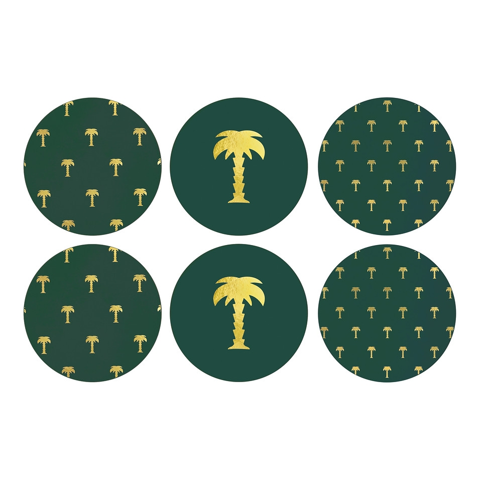 Klevering Coaster Palm Tree, Set Of 6 - Green