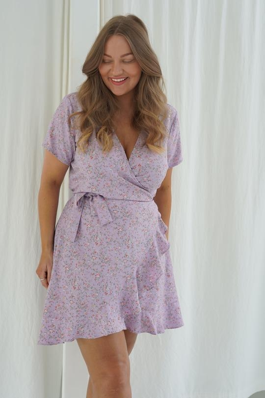 BY IC Zoey Dress - Purple Printed Flower