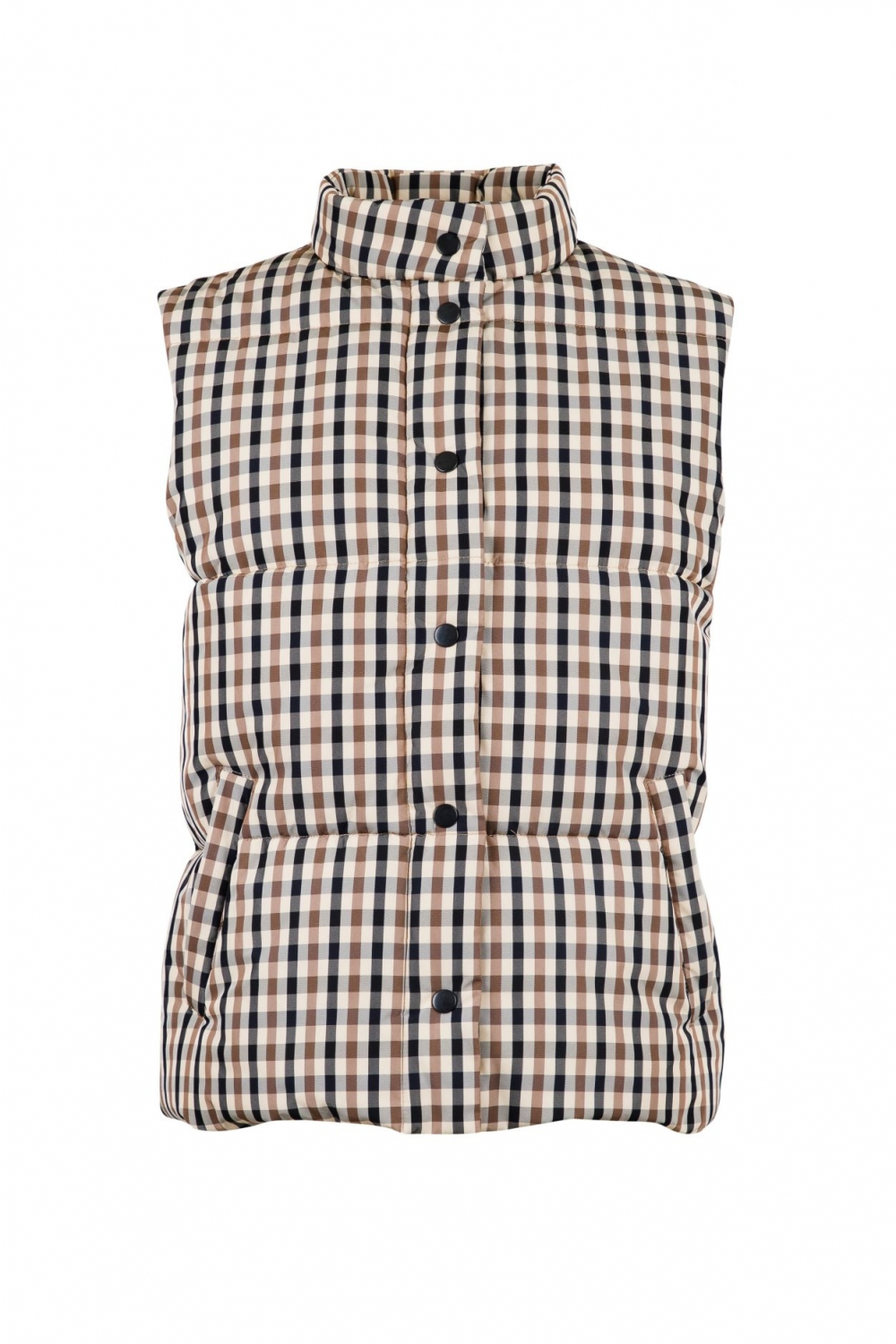 Neo Noir Frankie Check Puffer Waistcoat - Brown Check